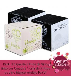 Pack 2 Cajas de 5 litros de Vino tinto Los Corzos y 1 caja de 5 litros de vino blanco verdejo Paz VI