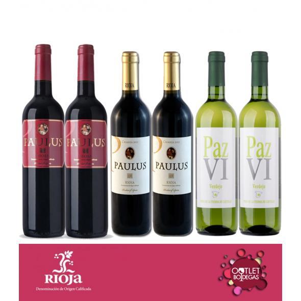 Pack Mixto Tinto Rioja Paulus  y blanco verdejo Paz VI